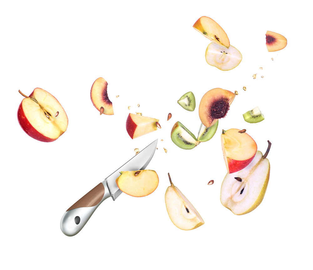фрукты и нож