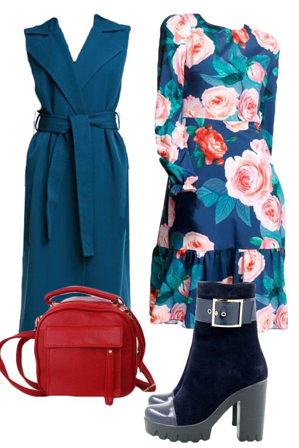 Цветочное платье с синей жилеткой