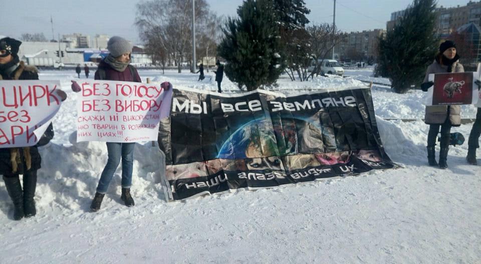 Активисты устроили акции протеста вКиеве иХарькове— Цирк без животных
