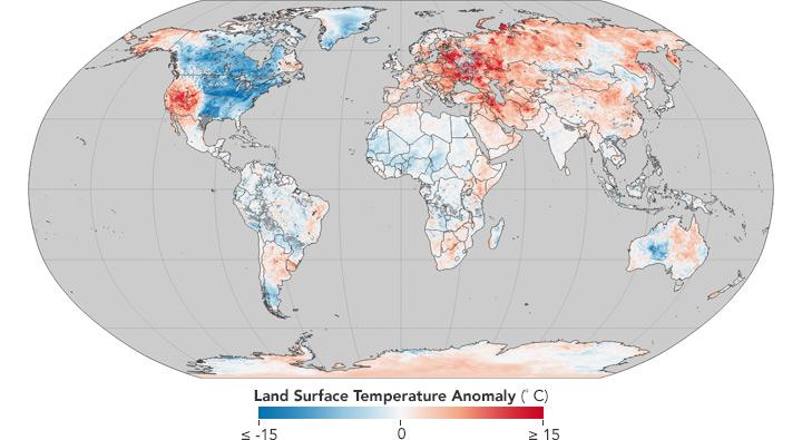 NASA опубликовало карту температурных аномалий: Украина угодила взону неестественно теплой зимы