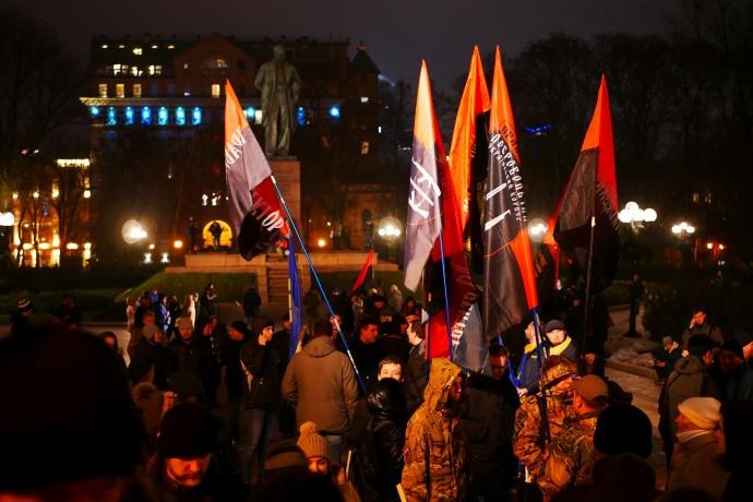 Вгосударстве Украина прославлять Бандеру вышли неменее 6,5 тыс. человек