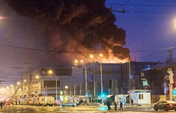ВКиеве потушили пожар возле станции метро Левобережная