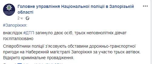 скрин ДТП ГУ полиции Запорожской области