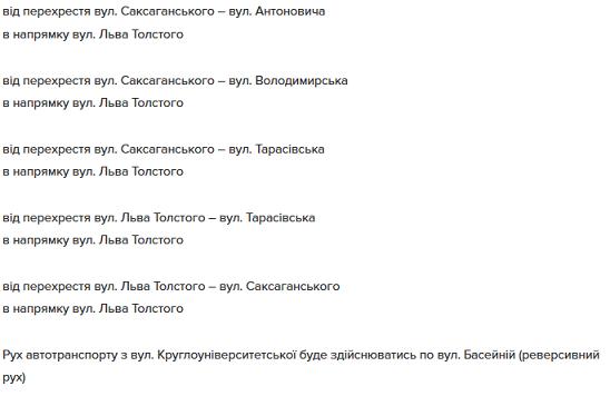 список улиц Киев