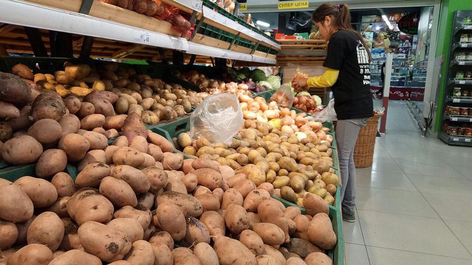 картофель на прилавке