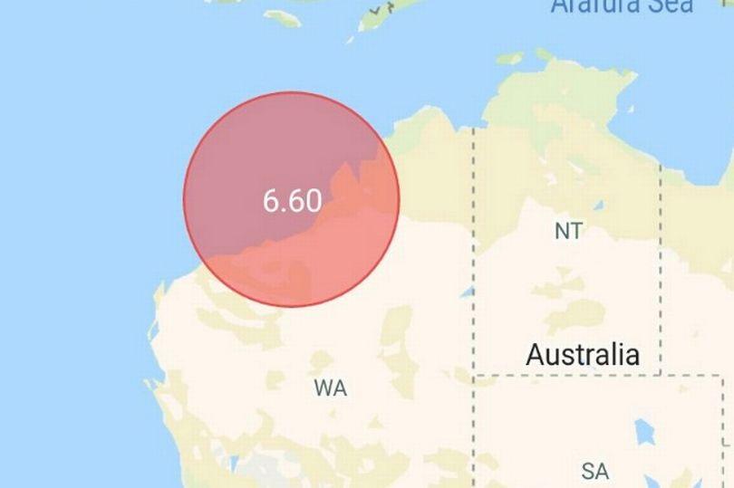 землетрясение вблизи Австралии