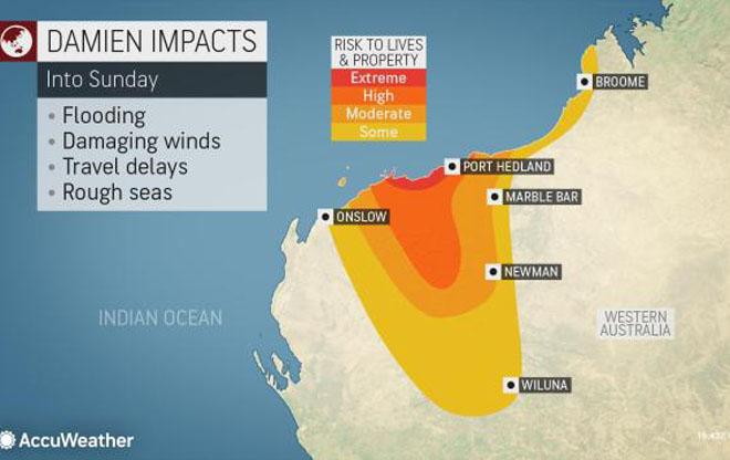 В сторону Австралии движется циклон, ожидаются ливни и ураган