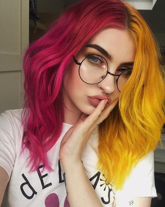двухцветные причёски