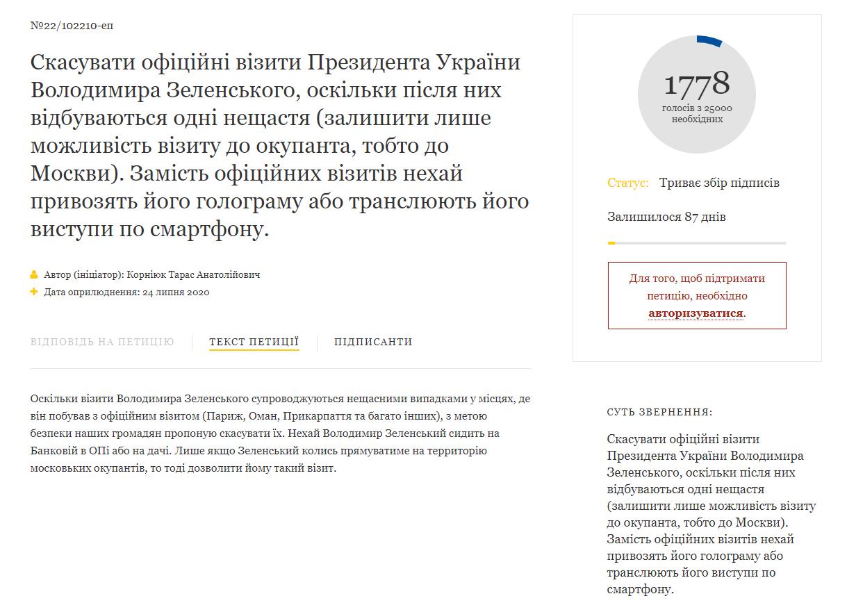 петиция по Зеленскому