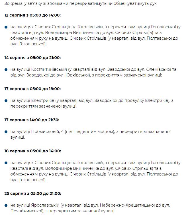 Киев перекрытие дорог