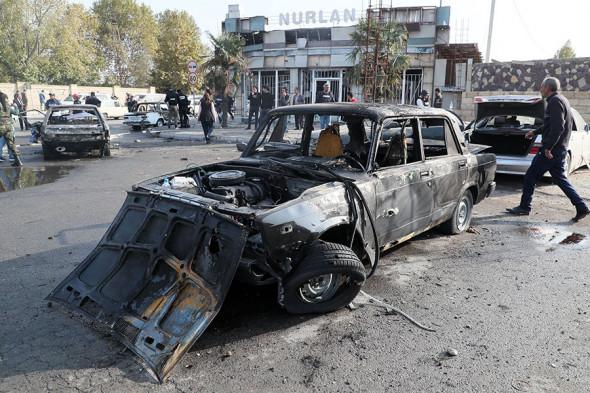 Город Барда после обстрела