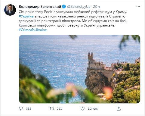 пост Зеленского о Крыме