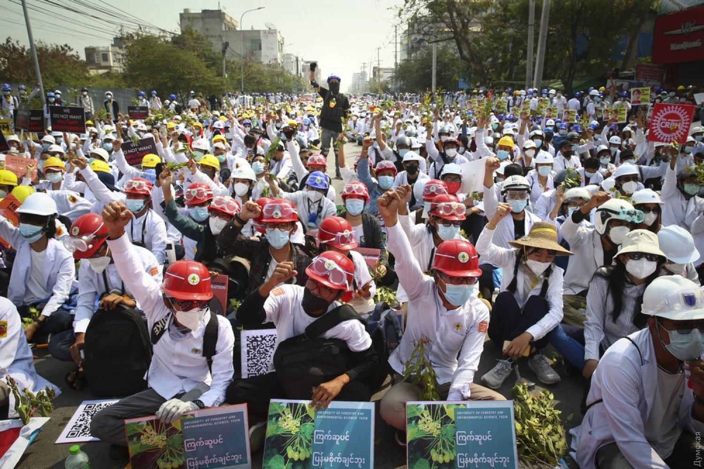 протесты в Мьянме.