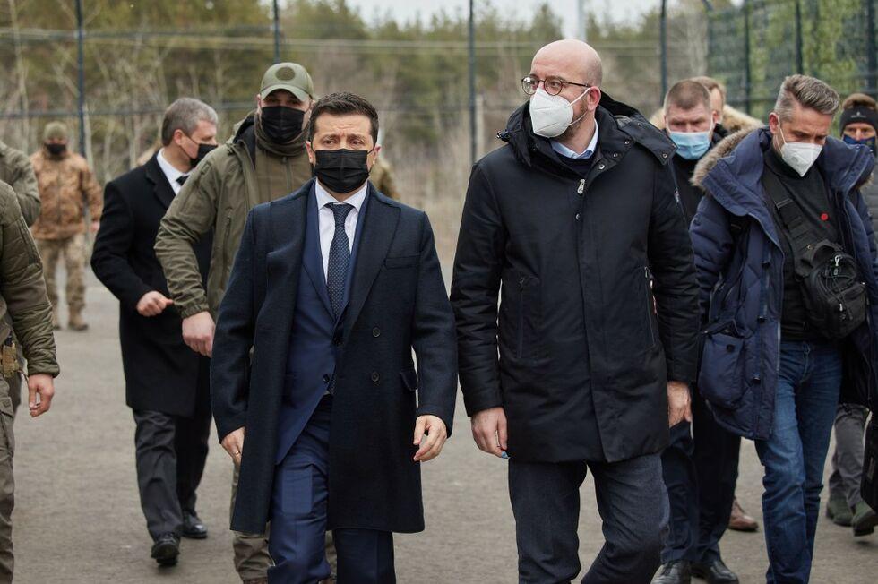 Зеленский и Мишель на Донбассе.